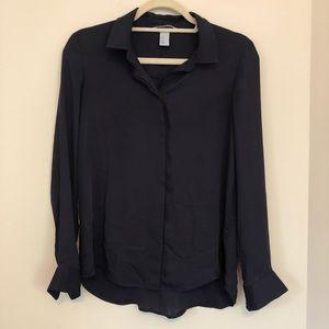 H&M Black LS Button Down Top Size 8 D53